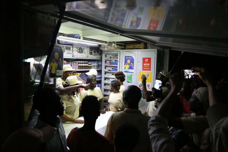 Solarkiosk customers at an opening of a stall